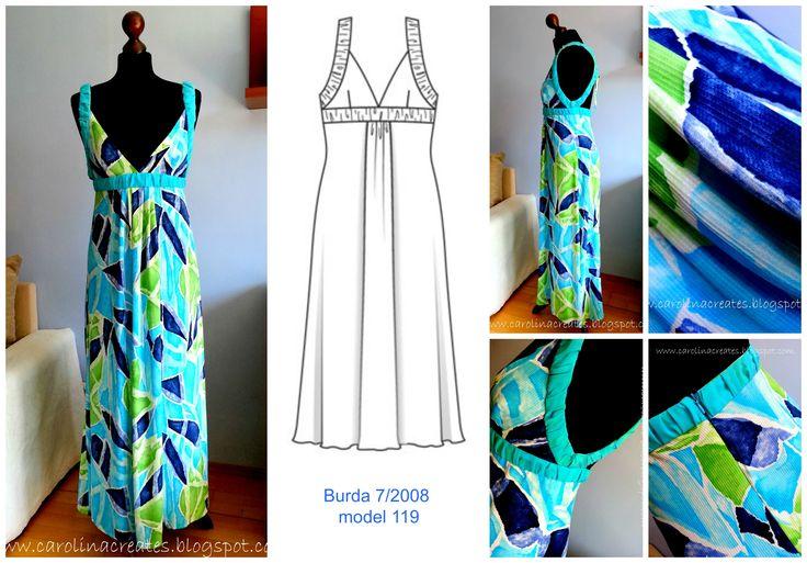 Hot Weather Summer Dress maxi Burda 7/2008 model 119