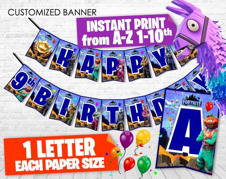 printable fortnite happy birthday banner  fortnite banner