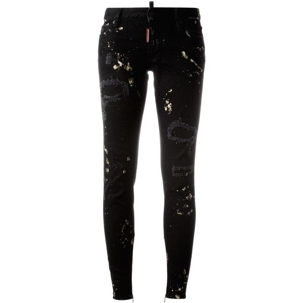 Dsquared2 Super Skinny distressed jeans (2 090 SEK) ❤ liked on Polyvore featuring jeans, pants, bottoms, black, super skinny jeans, skinny jeans, super distressed skinny jeans, zipper skinny jeans and destructed jeans