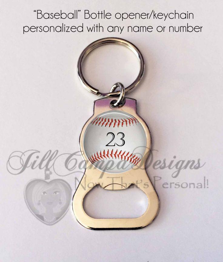 personalized baseball bottle opener keychain any number baseball theme baseball bottle. Black Bedroom Furniture Sets. Home Design Ideas