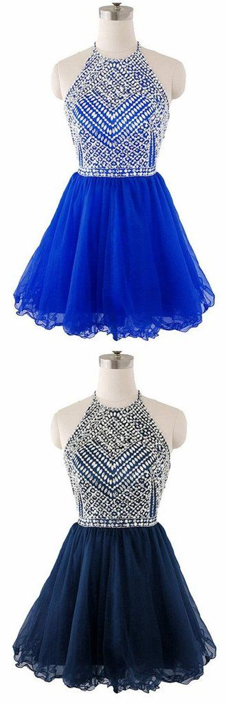 Beaded Top Homecoming Dress with Halter Strap, Back To School Dresses ,Short Prom Dress For Teens, BPD0477