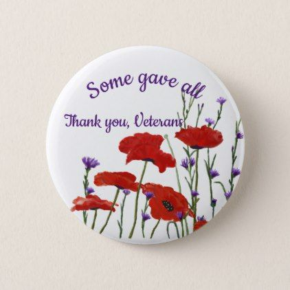 Memorial Day Veterans Day Red Poppies Pinback Button - memorial day holiday patriot usa