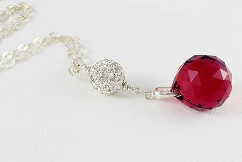 SALE 50%off Elegant Necklace, Crystal Necklace, Sterling Silver Necklace, Crystal Red Ball Necklace, Elegant Gift for Her, Ready toShip Gift by modotikon on Etsy