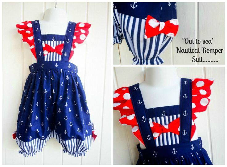 Nautical romper with flutter sleeves Baby romper