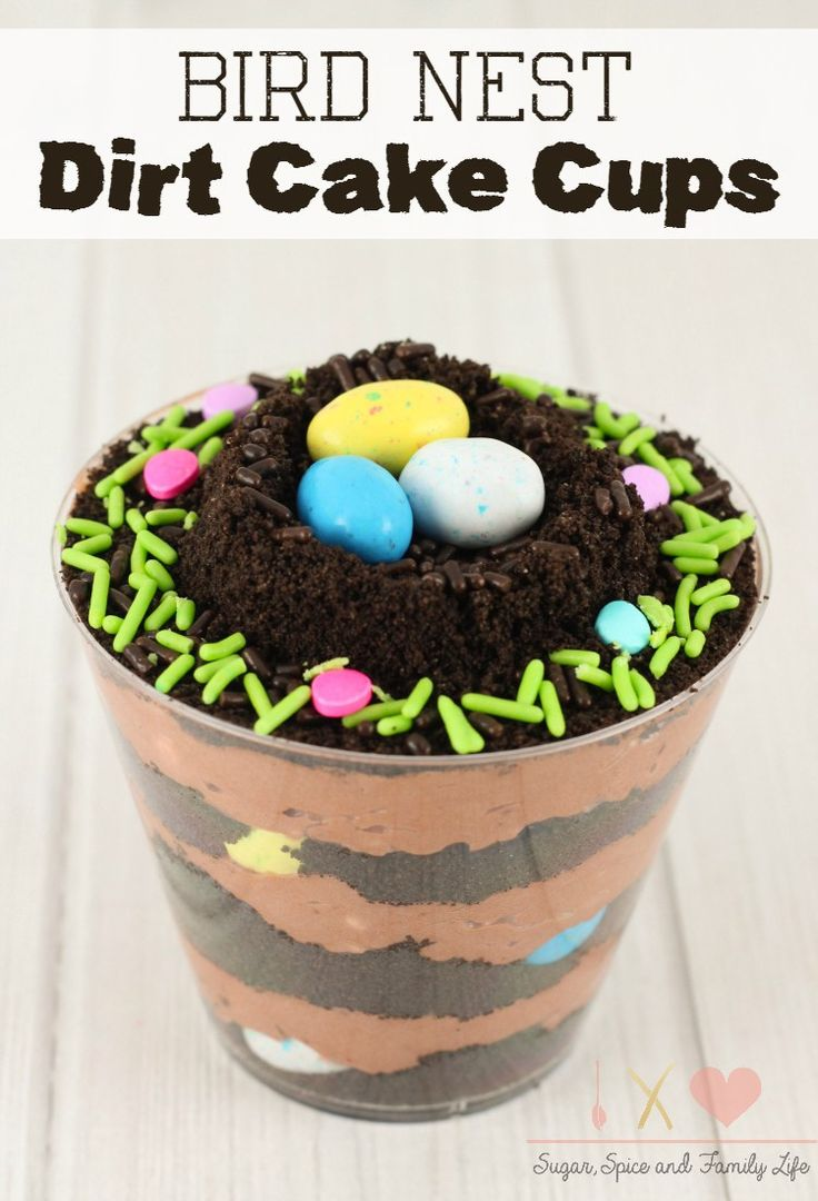 Bird Nest Dirt Cake Cups are the perfect chocolate dessert for spring. The pudding cups are layered with chocolate pudding and crushed Oreo cookies. Then decorated with sprinkles and mini chocolate candy eggs. - Bird Nest Dirt Cake Cups Recipe on Sugar, Spice and Family Life