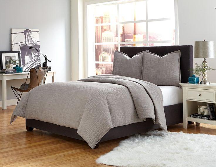 T Coverlet Duvet Set In Textured Gray Bedding Aico