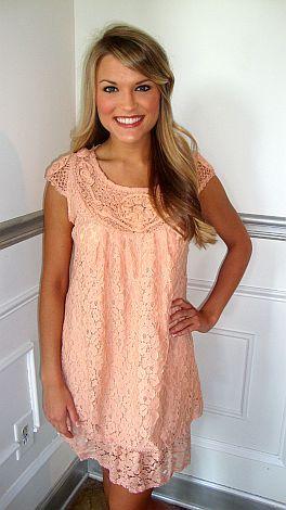 Georgia Peach Lace Dress - Blue door boutique