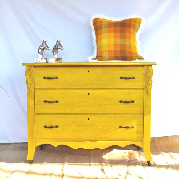 Canary Yellow Dresser   CUSTOM FOR STEPHAN   Refurbished Eastlake   Chest  Of Drawers   Upcycled