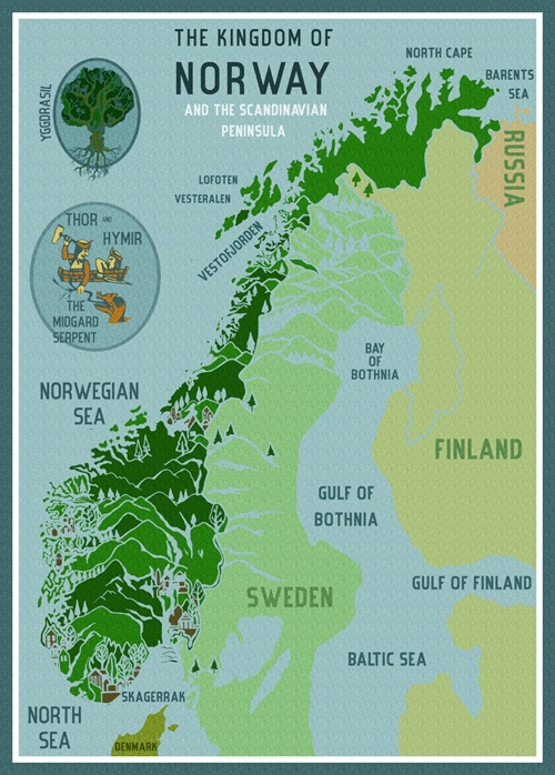 Best NORSE K A R T Images On Pinterest Norway Travel And - Norway map vikings