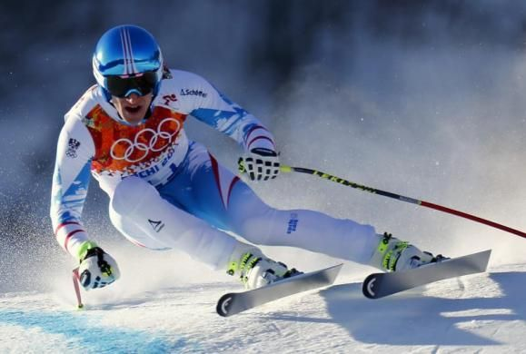 Austria's Matthias Mayer skis in a training session for the men's alpine skiing downhill race at the Rosa Khutor Alpine Center, February 7, ...