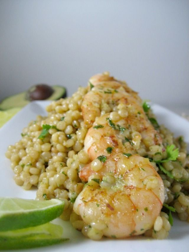 israeli couscous with shrimp - avocado cilantro lime dressing - keys to the cucina 1