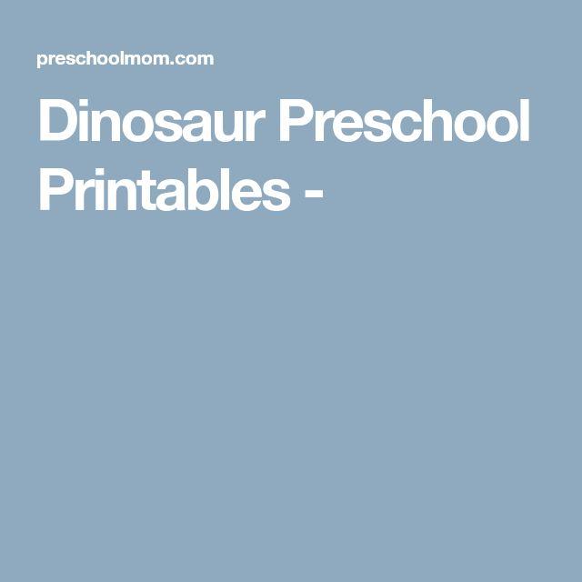 Dinosaur Preschool Printables -