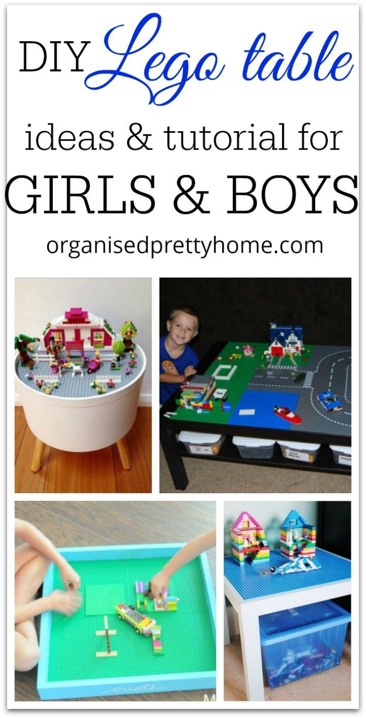 DIY Lego with storage shelves or boxes Ideas for girls and boys.  Easy how to make an Ikea  or thrift store coffee table into a play space for the kids.  DIY Lego Table: Organise Your Kids' Toys - Organised Pretty Home #ikea #lego #kidsideas #ideas #kids #toys #storage #diy #table #play #playroom #bedroom