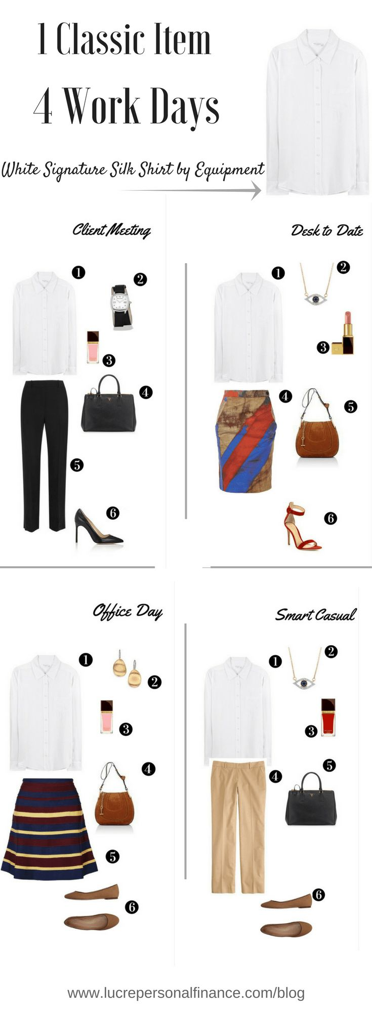Great ideas for how to wear a classic white shirt as part of a minimalist power work wardrobe. Click the image for outfit details.