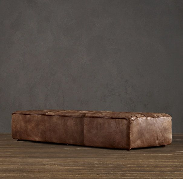 Restoration Hardware Chelsea Leather Coffee Ottoman