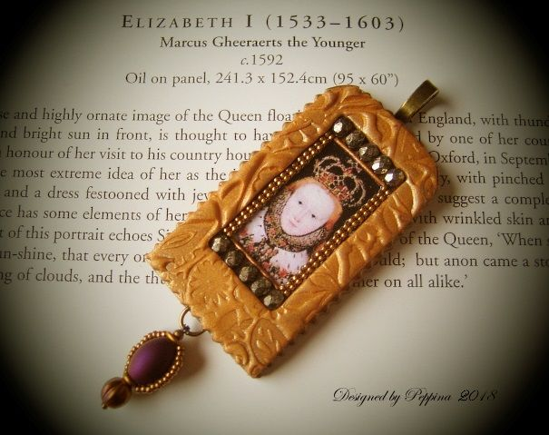 Polymer clay, beads, beaded panels, decoupage picture. Pendant by Peppina Pöyhönen.