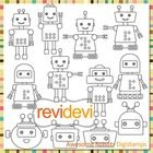 Line art/ blackline design. Awesome Robot clip art (digital stamps, coloring graphics) S060.  Cute robots collection digistamps.  These digital sta...