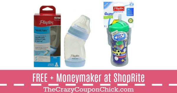Score FREE + Moneymaker Playtex Baby Bottle & Spill-Proof Cup at ShopRite (thru 1/27)
