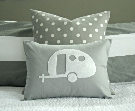 Vintage Airstream Camper Silhouette Pillow Cover - White and Grey - 12x16 on Etsy, $23.00