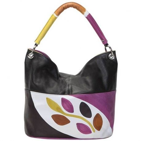 HANDBAG ACQUERELLO LIME RAMO Natural leather handbag, handpainted, with multicolored shoulder strap and zip fastener. It's very capacious and ideal for both free time and casual clothes, and for more formal situations, it fits at any age. All Acquerello handbags can be purchased with matching shoes, wallet, belt and other accessories. Colors violet black yellow and brown and branch pattern.