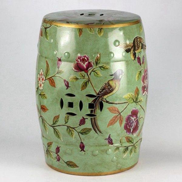 Enameled green background bird flower mark ceramic leisure seat  of ceramicstool.com