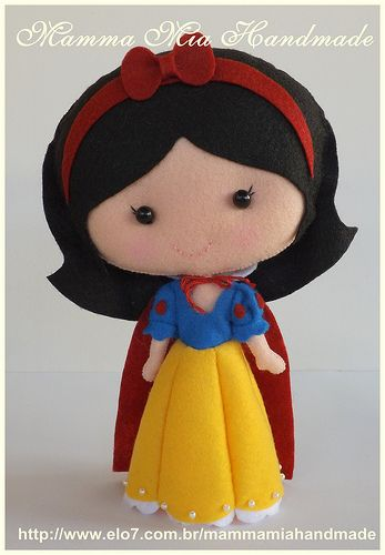 Snow White PDF ||| doll, plush, felt, fabric, Disney, princess, and the Seven Dwarfs