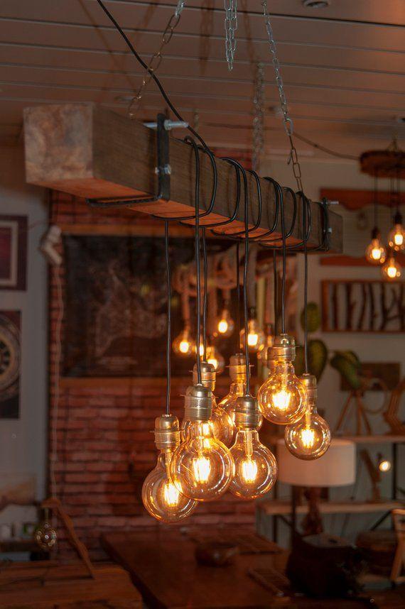 Reclaimed Farmhouse Lighting Fixture Chandelier Live Edge Wood