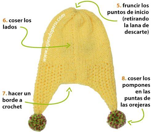 Cómo tejer un gorro con orejeras (chullo) en dos agujas o palitos para niños