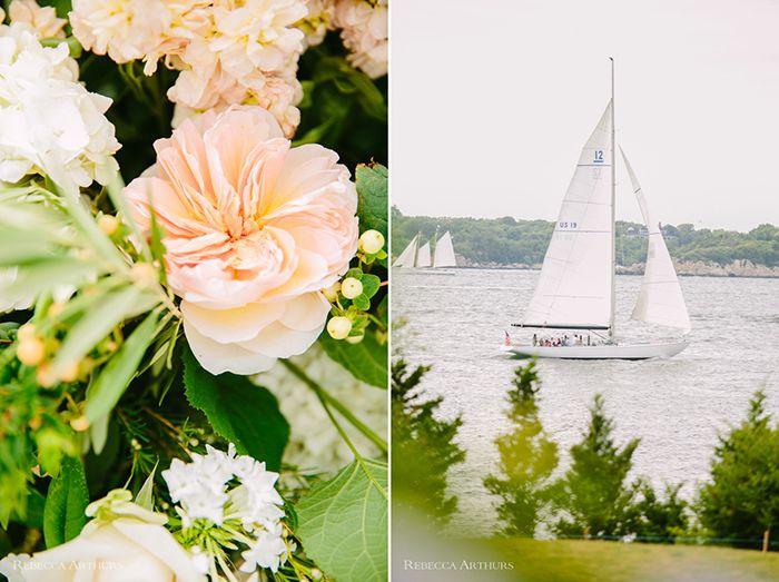Peach wedding in Newport, RI
