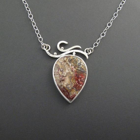 Labradorite Art Jewelry Pendant Druzy Agate and Labradorite Crazy Lace Agate Silver Necklace Metalsmith Necklace
