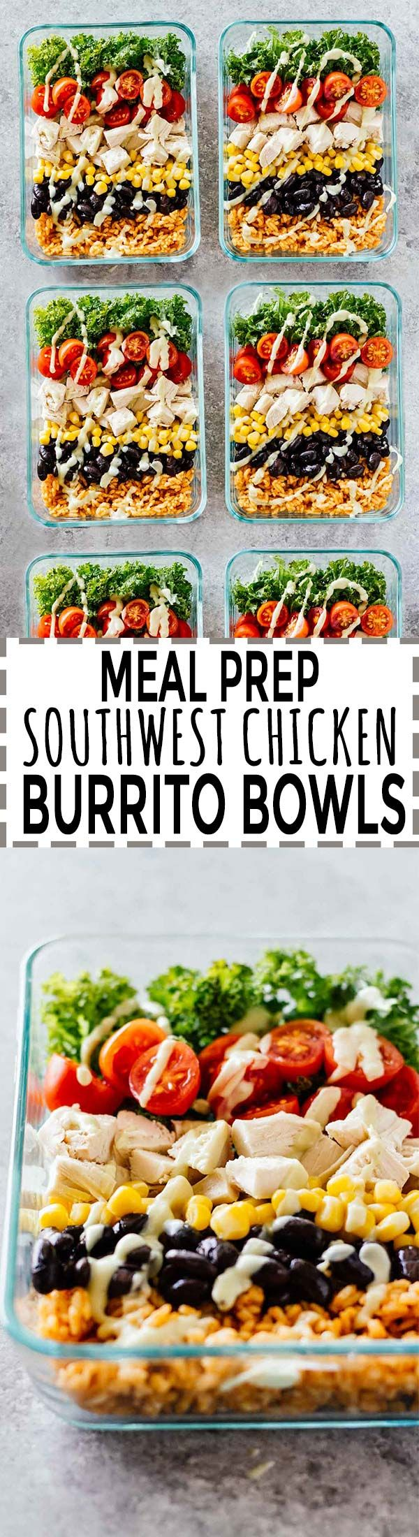 Meal Prep Southwest Chicken Burrito Bowls! SO delicious and easy to make. Gluten-free and perfect for a lunch on-the-go!