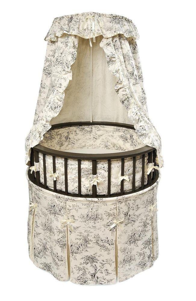 victorian baby cradle | ... Round Baby Bassinet Veil Cradle Crib Infant Victorian White | eBay