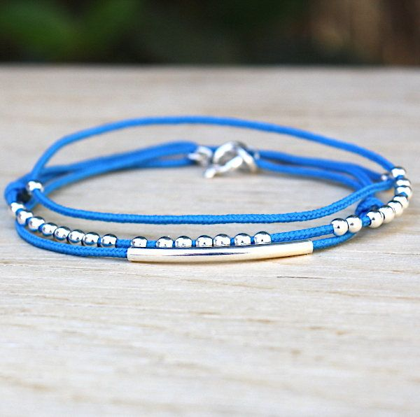 bracelet cordon 3 tours jonc et perles argent 925