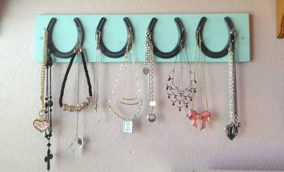 COWGIRL STYLE DECOR 4 Horseshoe and Nail Aqua Western Jewelry & Accessory Holder