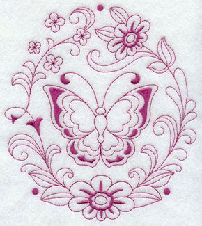 A Redwork butterfly and flowers machine embroidery design.