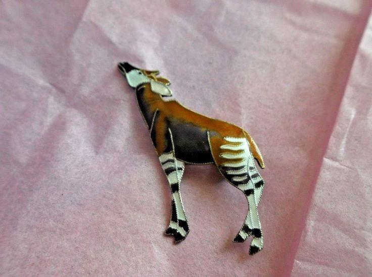 "Sterling Silver Enamel Pin, African Okapi, Multi Color, 2"" L,   #Unbranded"