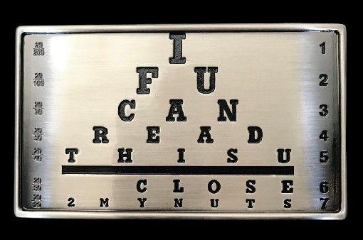 Funny Doctor Eye Doctor Wall Chart Belt Buckle Buckles #eyechart #eyeexam #beltbuckle #buckles #buckle