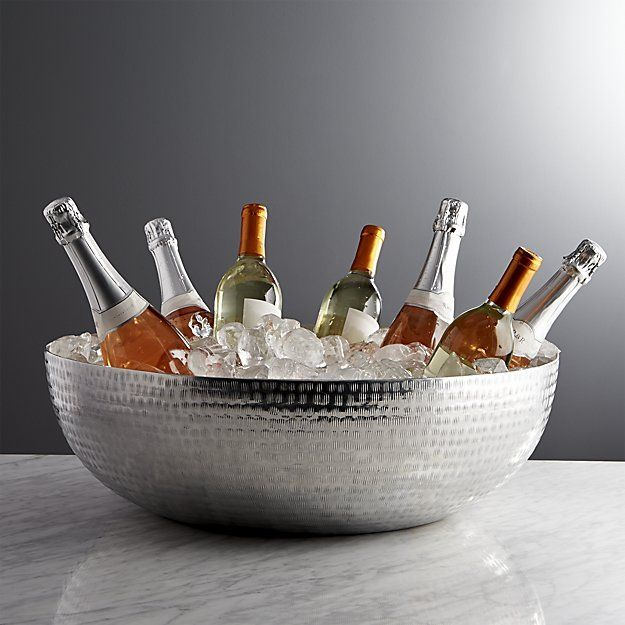 Exceptional Hand Hammered Beverage Tub Shimmers Ethnic, Artisanal Texture In Shiny  Aluminum. Generously Scaled