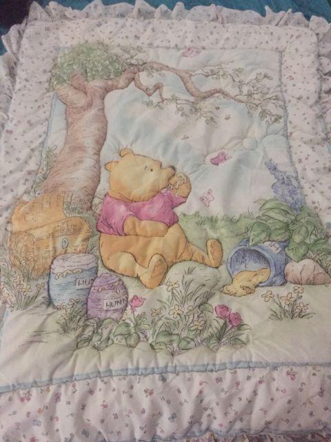 Winnie The Pooh Classic Pooh Disney Crib Quilt Blanket Butterfly Honey Throw   eBay