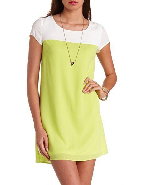 Neon Color Block Shift Dress: Charlotte Russe