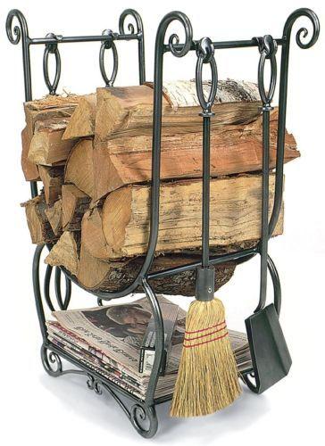 Fireplace Wood Holder Tools Indoor Fire Place Log Rack Storage Basket Sets Poker | eBay