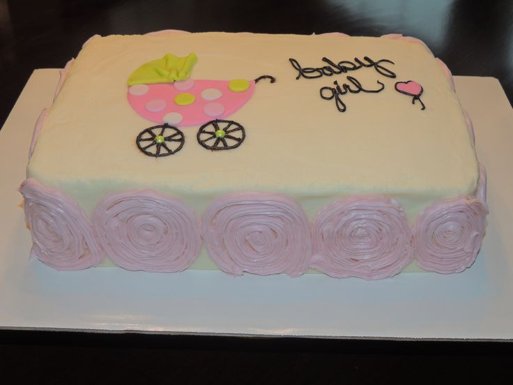 Baby Shower Simple Cakes ~ Simple baby shower girls sheet cake my own cakes