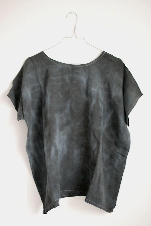 Marble shibori linen top