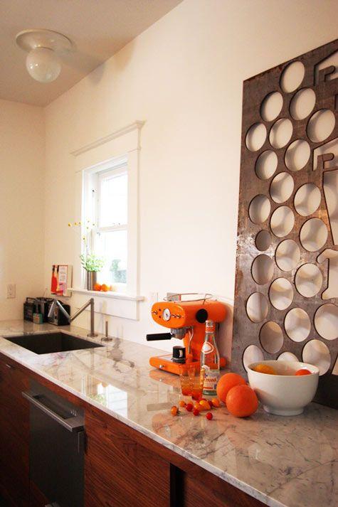 This photo just makes me smile. Colour is a brilliant thing.: Espresso Machine, Interiors Design Offices, Orange Kitchens, Orange Orange, Hotels Interiors, Floors Design, Metals Art, Kitchens Counter, Art Pieces
