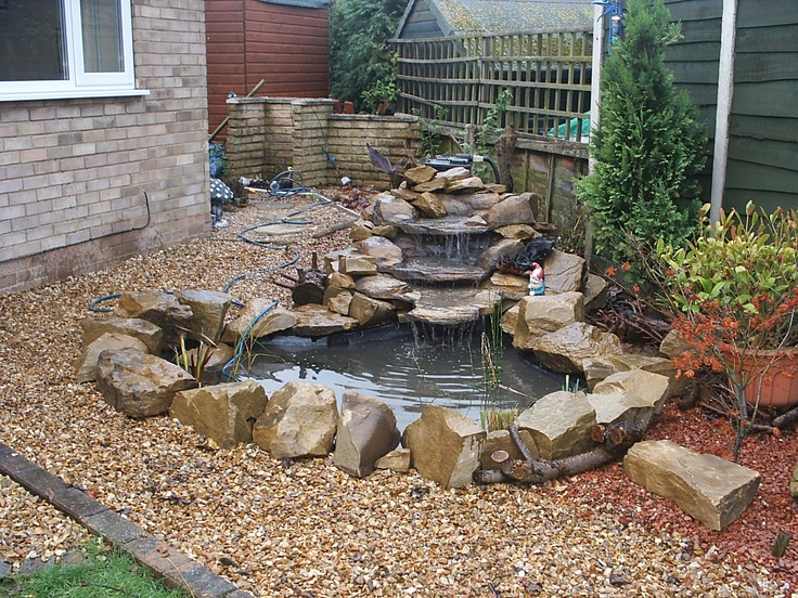 7 best images about pond waterfall ideas on pinterest for Small pond landscaping ideas