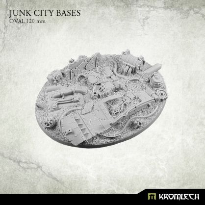 This set contains 1 oval 120 mm scenic base. Junk City theme.