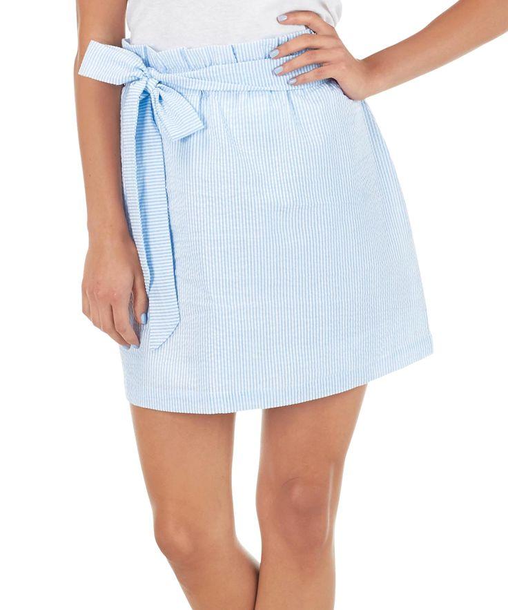 Blue Ansley Seersucker Skirt - Women