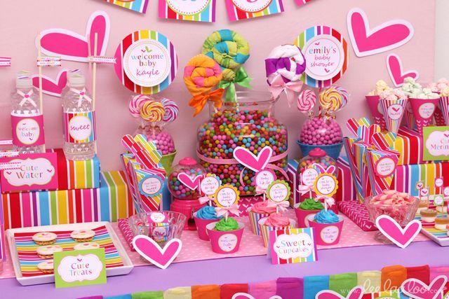mesa de dulces corazones