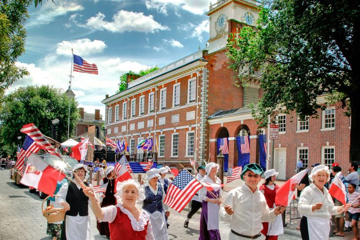 Independence Day in Philadelphia begins with a parade through Historic Philadelphia featuring more than 6,000 participants from around the country. (Photo by G. Widman for Visit Philadelphia)