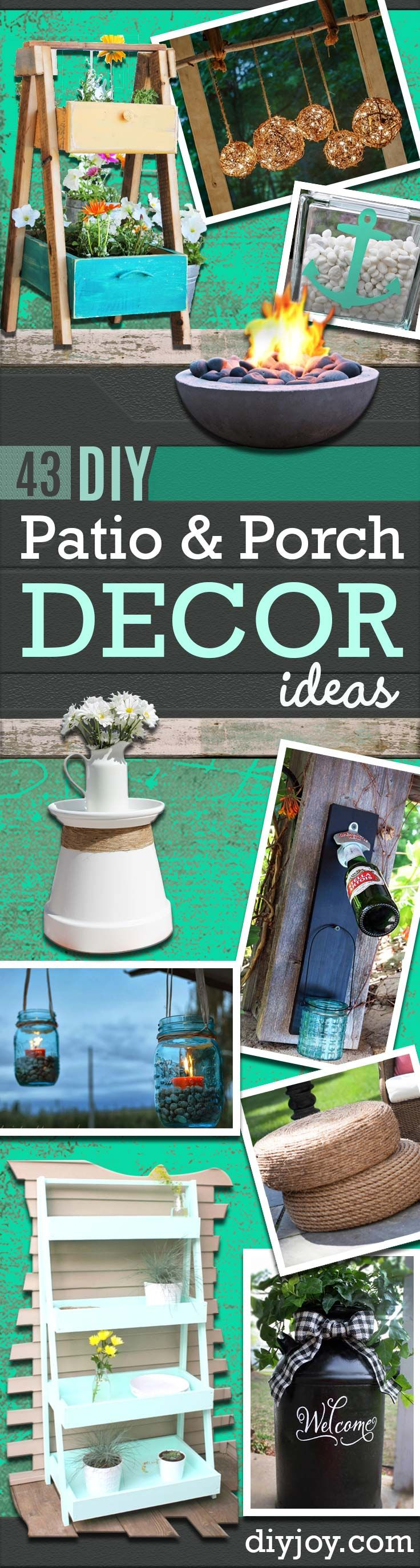 DIY Porch and Patio Ideas - Decor Projects and Furniture Tutorials You Can Build for the Outdoors -Swings, Bench, Cushions, Chairs, Daybeds and Pallet Signs  http://diyjoy.com/diy-porch-patio-decor-ideas